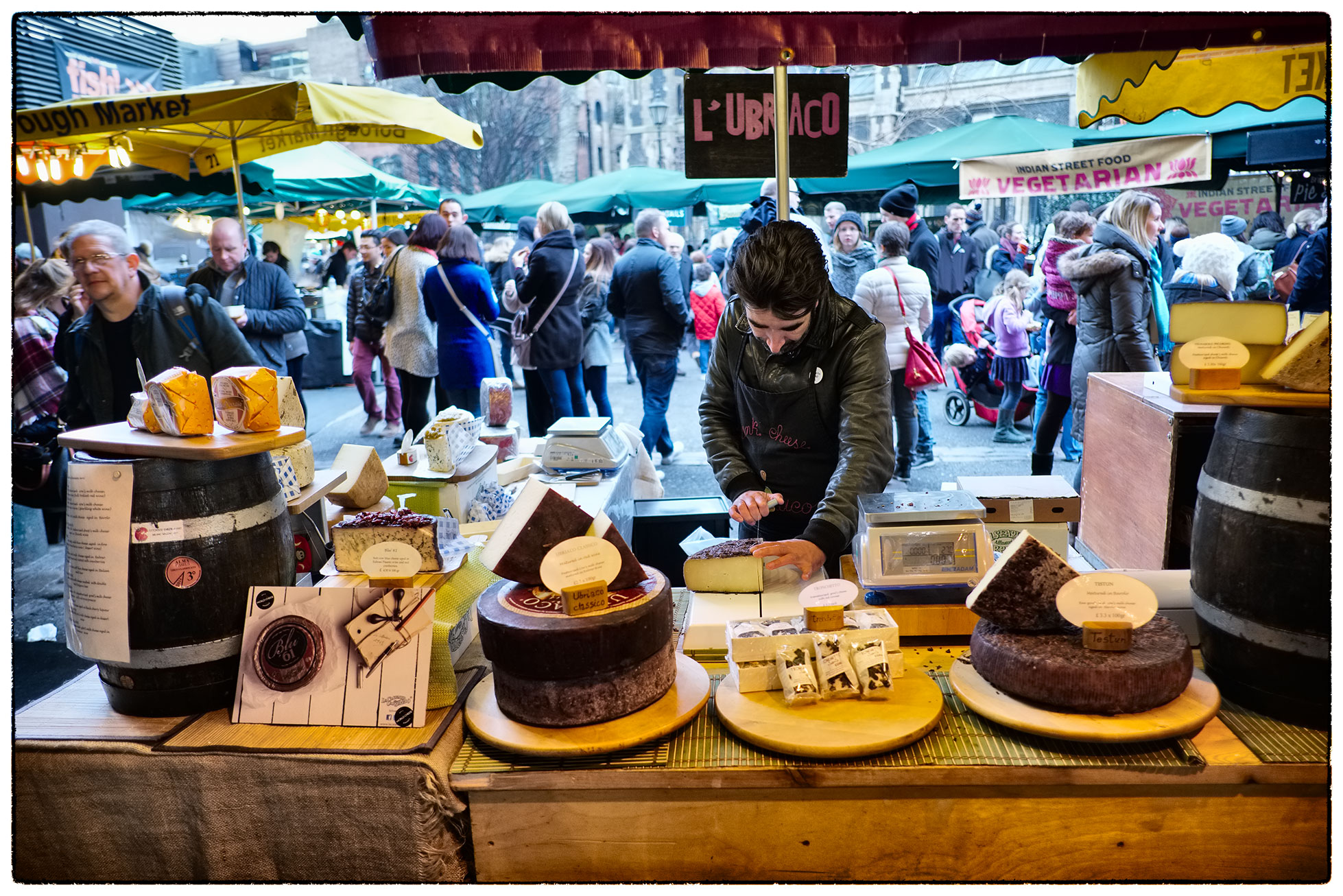 The cheese stall, Borough Market, London.