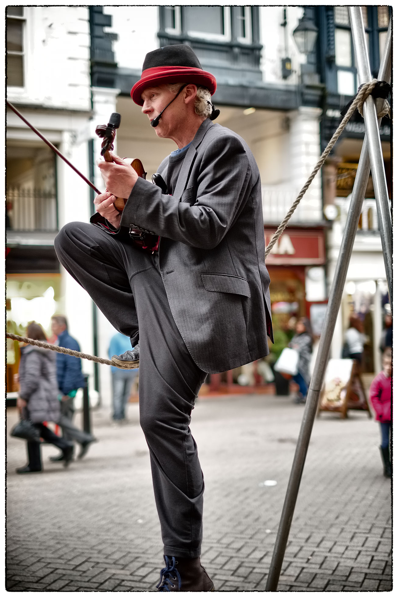 Entertaining busker ion the centre of Chester today.