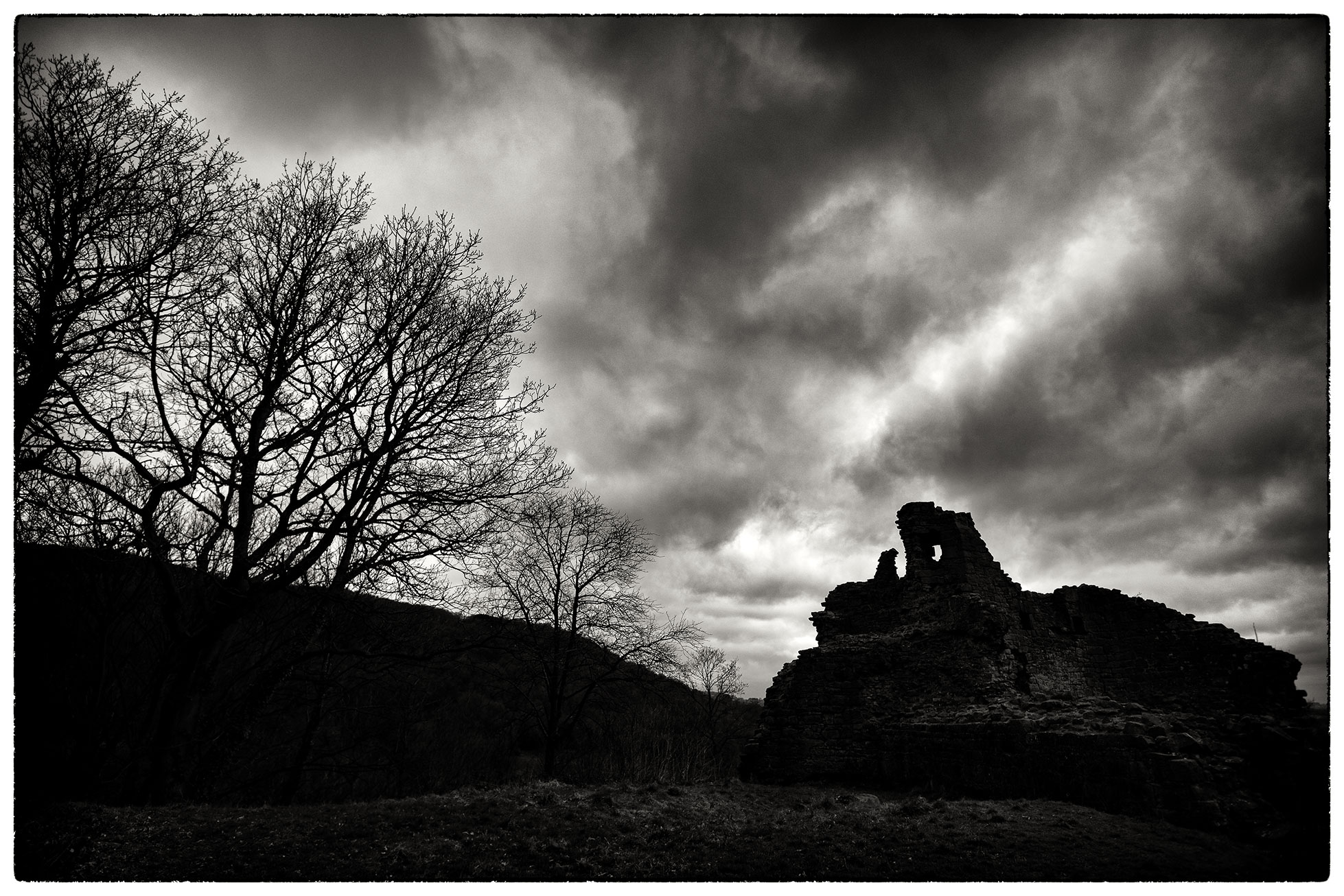The ruins of Caergwrle Castle, also known as Queen's Hope, burnt down in 1283 and never rebuilt.