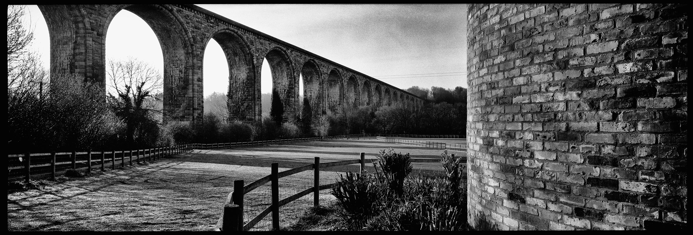 Early morning panoramic shot at Cefn Viaduct.