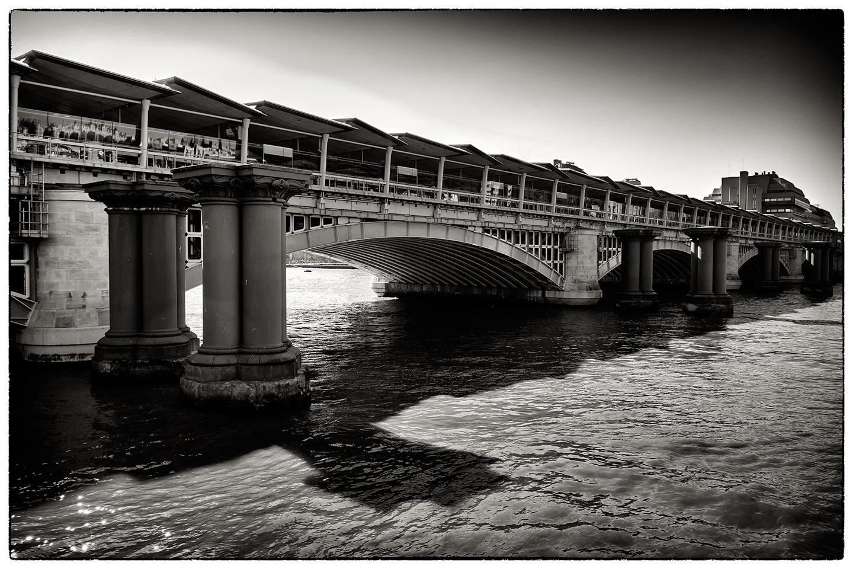 Bridge and pillars, next to Blackfriars Bridge, London.