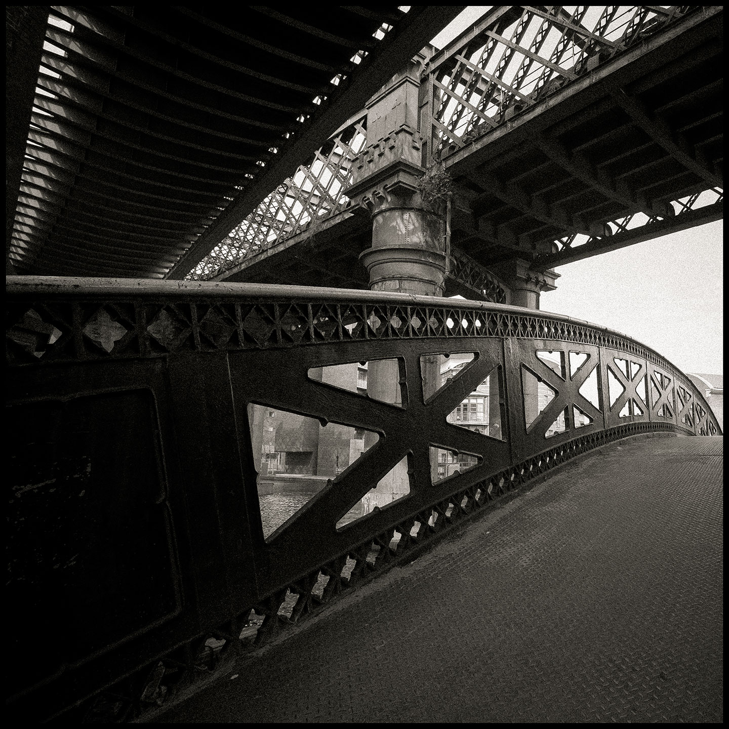 Bridges, tram, foot and train, Castlefield. More from the Manchester collection.
