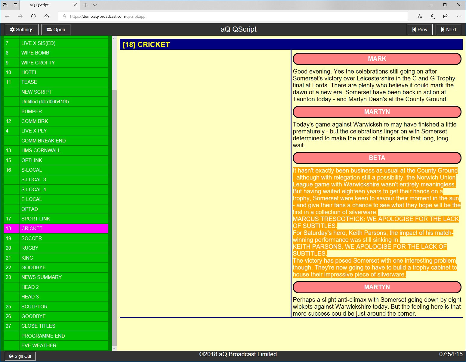 qscript two-column example gui