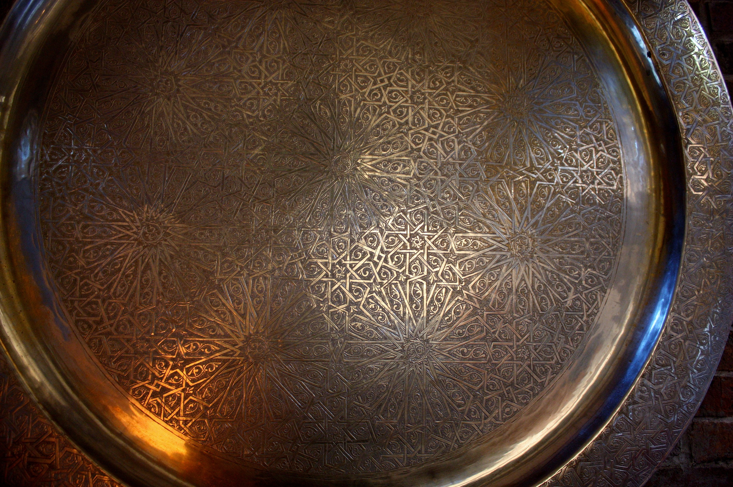 Silver tray, hand cast and etched by L'Art d'Allah in Fez, purveyors of fine metalwork to the king of Morocco.