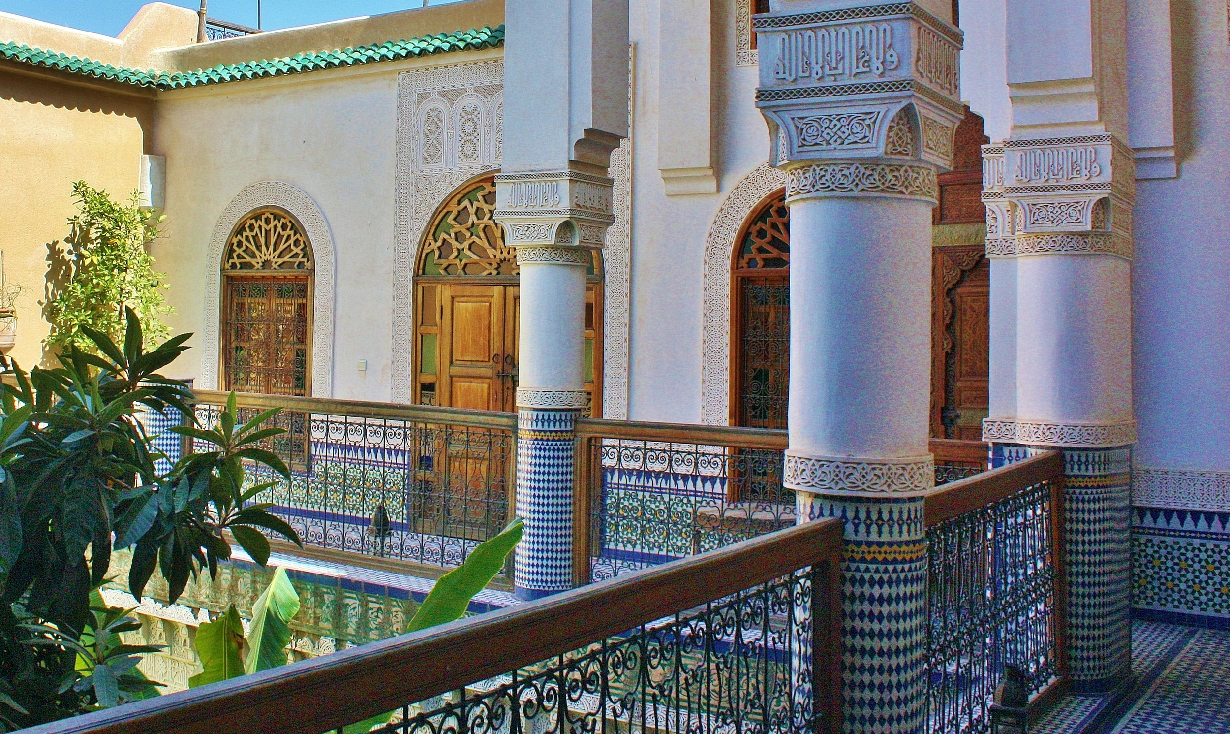 Upper balcony of a riad in the old city of Fez, Morocco.