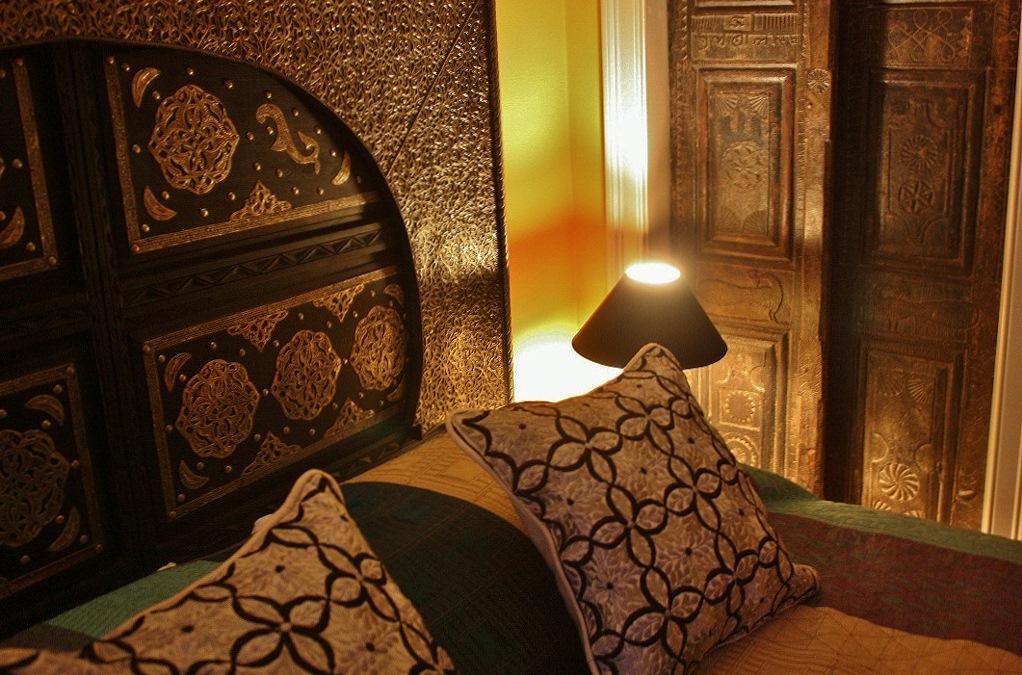 Silver and cedar bed, antique Indian door, Berber pillows (1024x679) (2).jpg