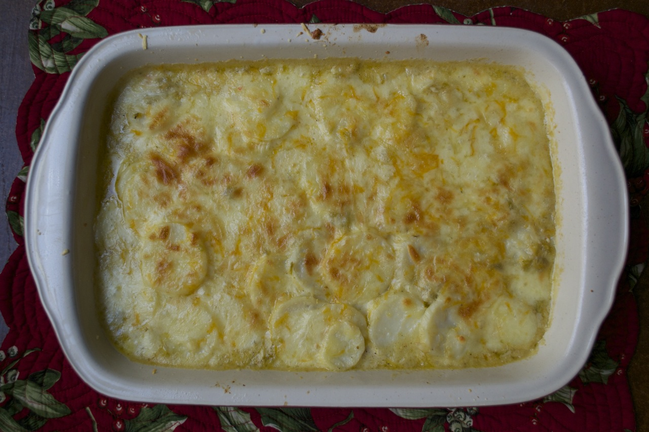 GREEN CHILE SCALLOPED POTATOES - Potatoes, chile and cheese. Yes, please.