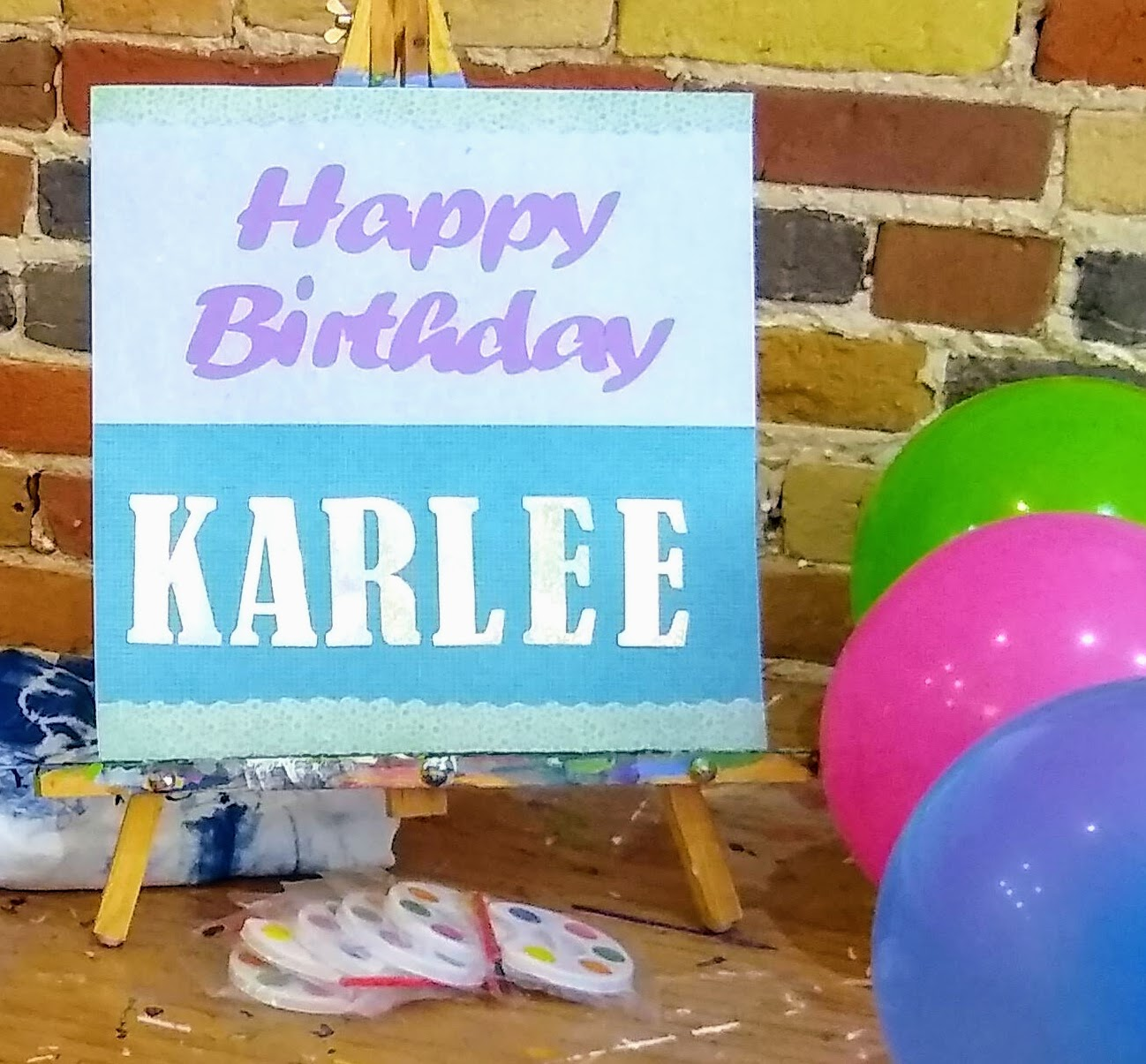 Personalized keepsake sign and balloons: $20 -