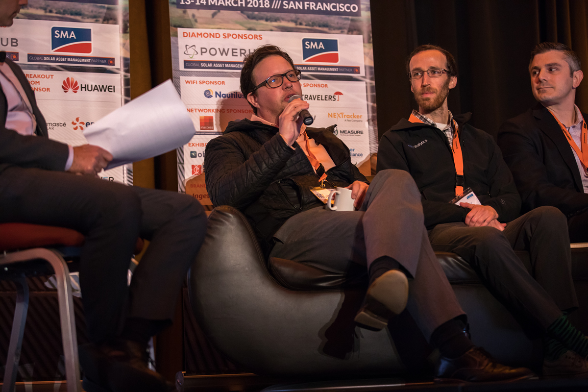 A panel discussion on solar risk management at SAMNA featured (left to right) Jon Previtali of Wells Fargo, Jason Kaminsky of kWh Analytics, and Jonathan Roumel of Spruce Financial. (Photo courtesy of Solarplaza)