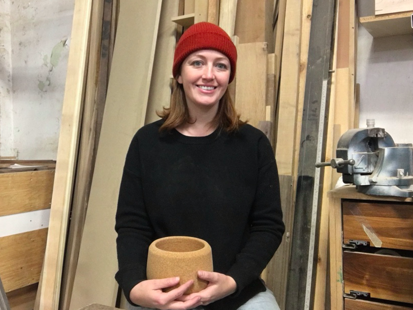 Christina with her cork planter.