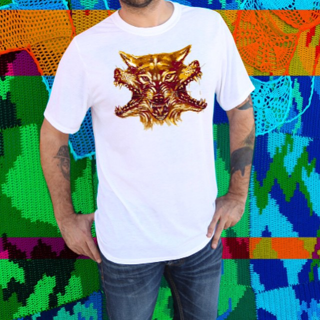 """Ultra soft sublimated """"#WOLF"""" #FineArtPrint by renowned #artist """"#JASONDAQUINO"""" printed on front of this luxurious white unisex T-#Shirt. This unique print is #fierce.  Great for the #hikes through the #woods, #howling at the #moon, drinking piña coladas at Trader Vic's, and your self-esteem.  THIS SHIRT WOULD MAKE YOU MUCH COOLER , AND SIGNIFICANTLY MORE ATTRACTIVE."""