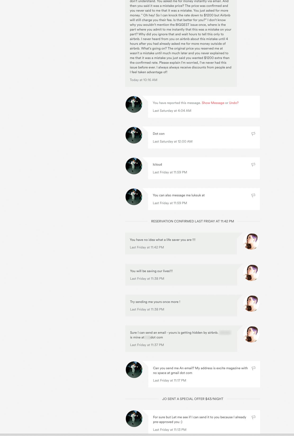 2/16 10.16AM airbnb messaging system screenshot