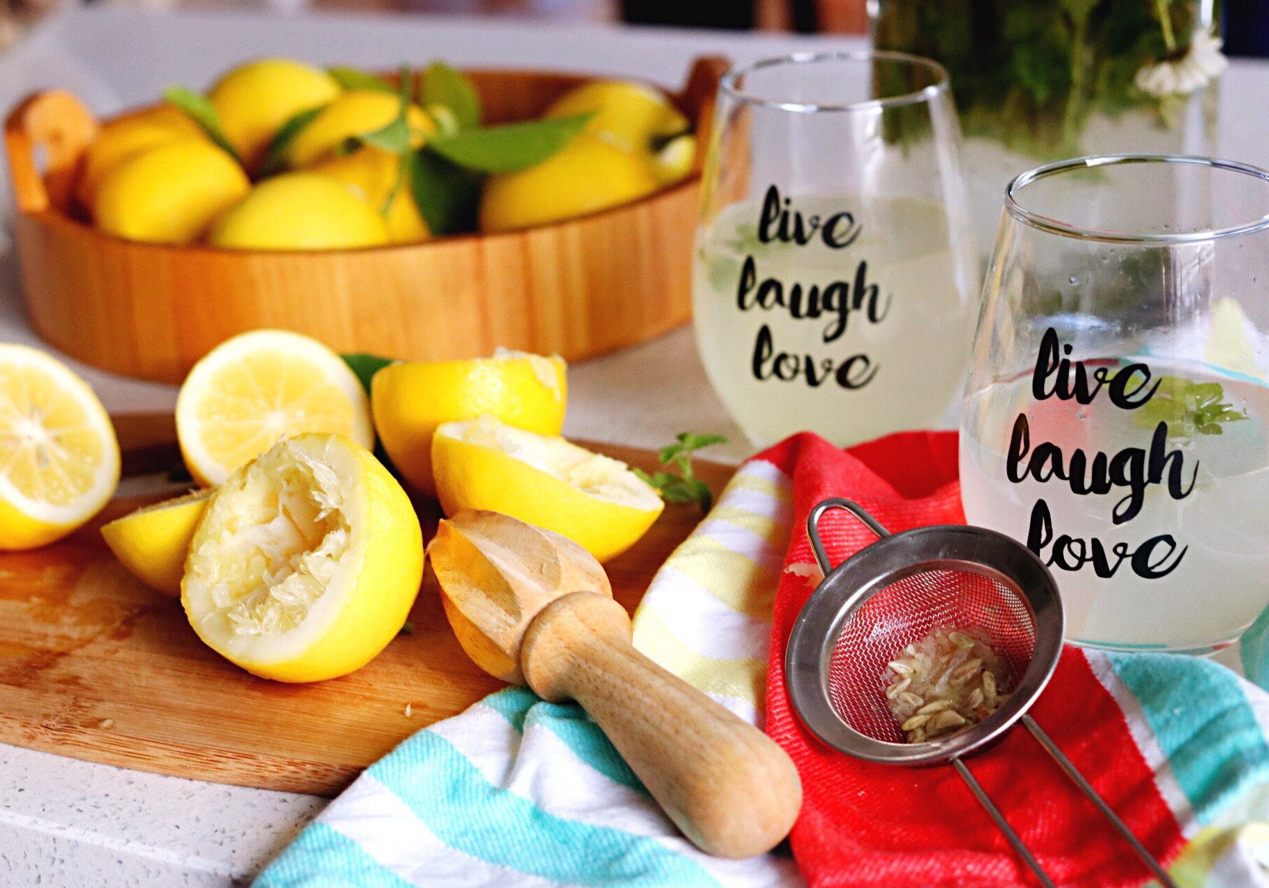 ✔️ Meyer lemonade is the BEST lemonade!   FOUR Meyer Lemons = ONE cup of lemon juice  One cup lemon juice  One cup water  and One table spoon sugar (or as much as you want)  Combine ingredients, add ice, drink, and be refreshed!