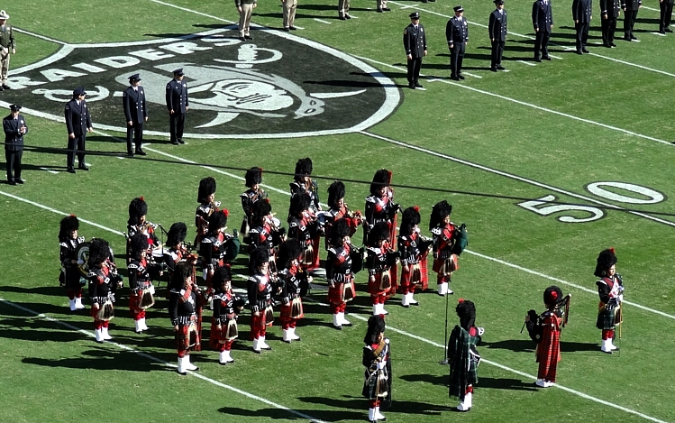 Photo courtesy of Jeff Gordon  Stewart Tartan Pipes & Drums with assistance of the Stuart Highlanders  Oakland, CA, Oakland Raiders Pre-Game 3rd Annual Fallen Heroes Ceremony, 2012