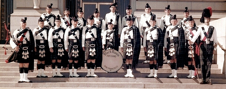 (Geo. Brooke Photo)  Denton Crochit Rick Coffee Mike (Unknown) George Brooke (unknown) Bob Jamison Bryce Horst Calvin McElroy Unknown  Bill Cathro Bill Weber Herb Dedo Bob Castiglione Tommy Armstrong Unknown Jay Marden George Shell Unknown Tom Hattam Tom Elwood   The Black Raven Pipe Band (1969)