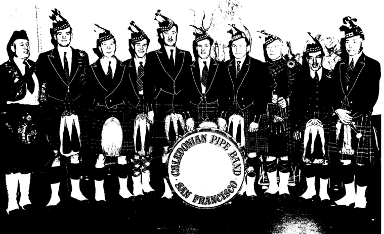 Photo courtesy of Ozzie Reid  Caledonian Pipe Band (left to right): Unknown, John Biggar, Unknown, Unknown, Calvin Biggar, Roger Peterson, Alfred Thompson, Bill Skinner, Jack MacKenzie