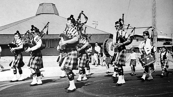 Photo courtesy of Phil Lenihan  L to R: PMaj John McPhee Calum Logan Dick Boyd Phil Lenihan David More David More's daughter   Royal Canadian Legion (1971 approx.)   Northwest YMCA, Cupertino, CA