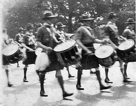Photo courtesy of Charlie Martin   SF Boy Scout Pipe Band (1936)   That's my dad Keith Martin with the drum. All I remember my dad telling me about playing with them is that the bass drummer could swing and lay-out anyone who ran up to look under their kilts! [by Charlie Martin]