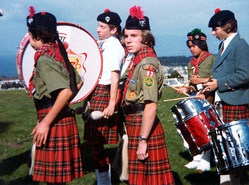 Photo courtesy of Brian Molver  Left to Right: unknown, Stuart Molver (bass), Charlie Martin, Chris Paterno, Brian Molver   St Peter's Pipers (1978)  at Westmoor High School, Daly City