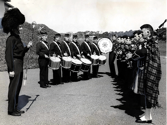 Reprinted with permission from the SAN FRANCISCO HISTORY CENTER, SAN FRANCISCO PUBLIC LIBRARY   San Francisco Police Pipe Band (09 Mar 1962)