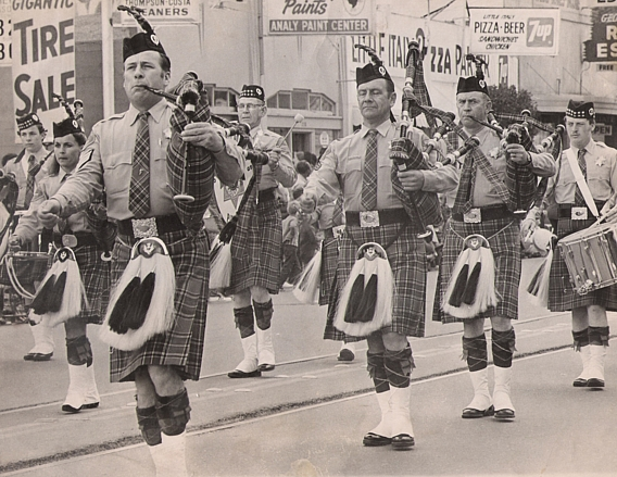 Courtesy of Kevin Young     Sonoma County Sheriff Office Pipe Band (Circa 1971-1972)  Apple Blossom Parade in Sebastopol