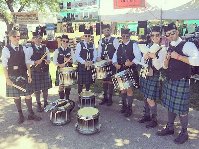 Drumline from this past weekend showing off the new uniform! #pipeband #drummers #motherlodegames @premierdrumco