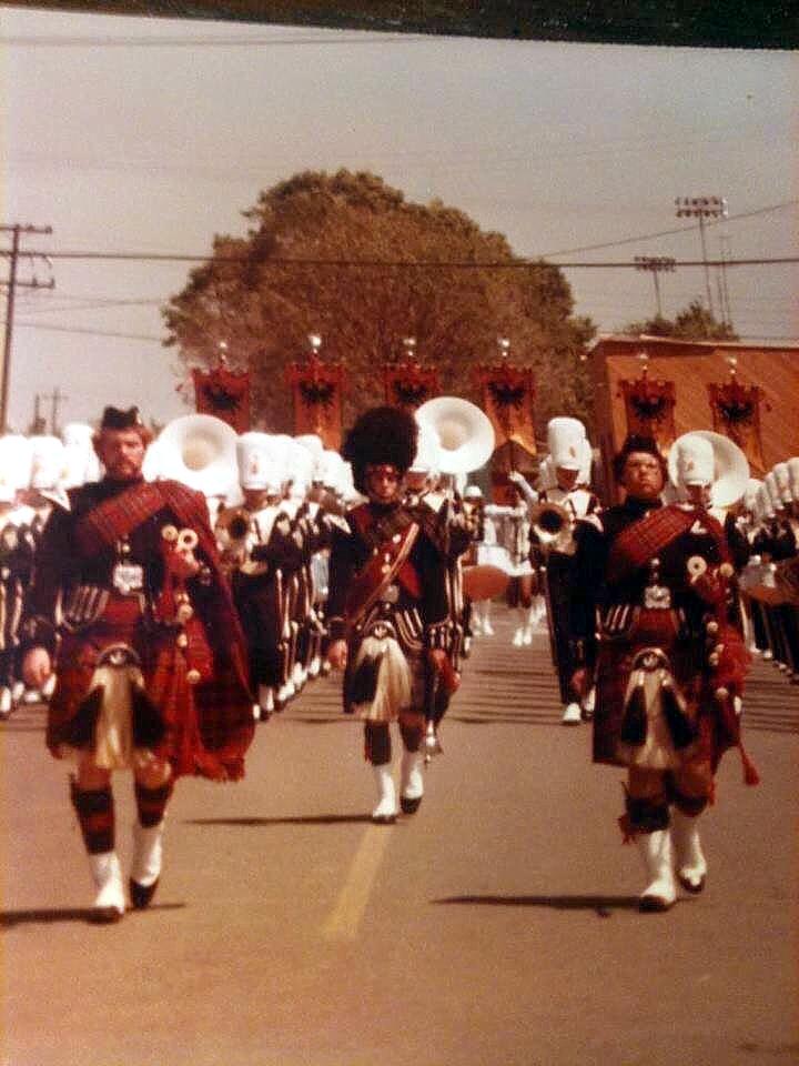 Armijo Pipers and Drum Major Bill McCrary, Steve Sanger, Tom Mopas