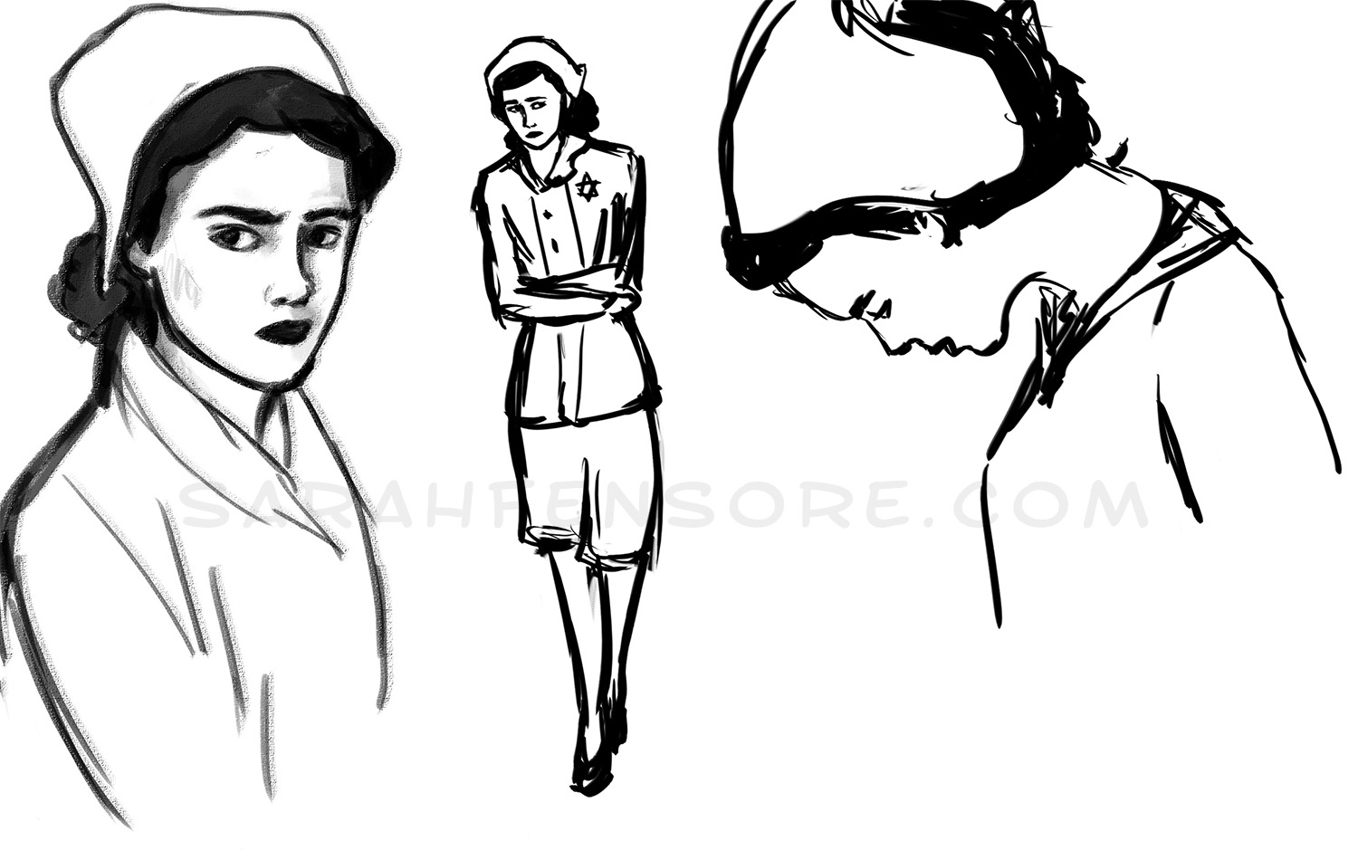 Sketches for a graphic novel on Holocaust Survivor stories.
