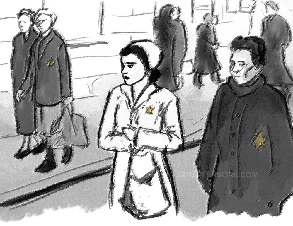 Sketch for a graphic novel on Holocaust Survivor stories.