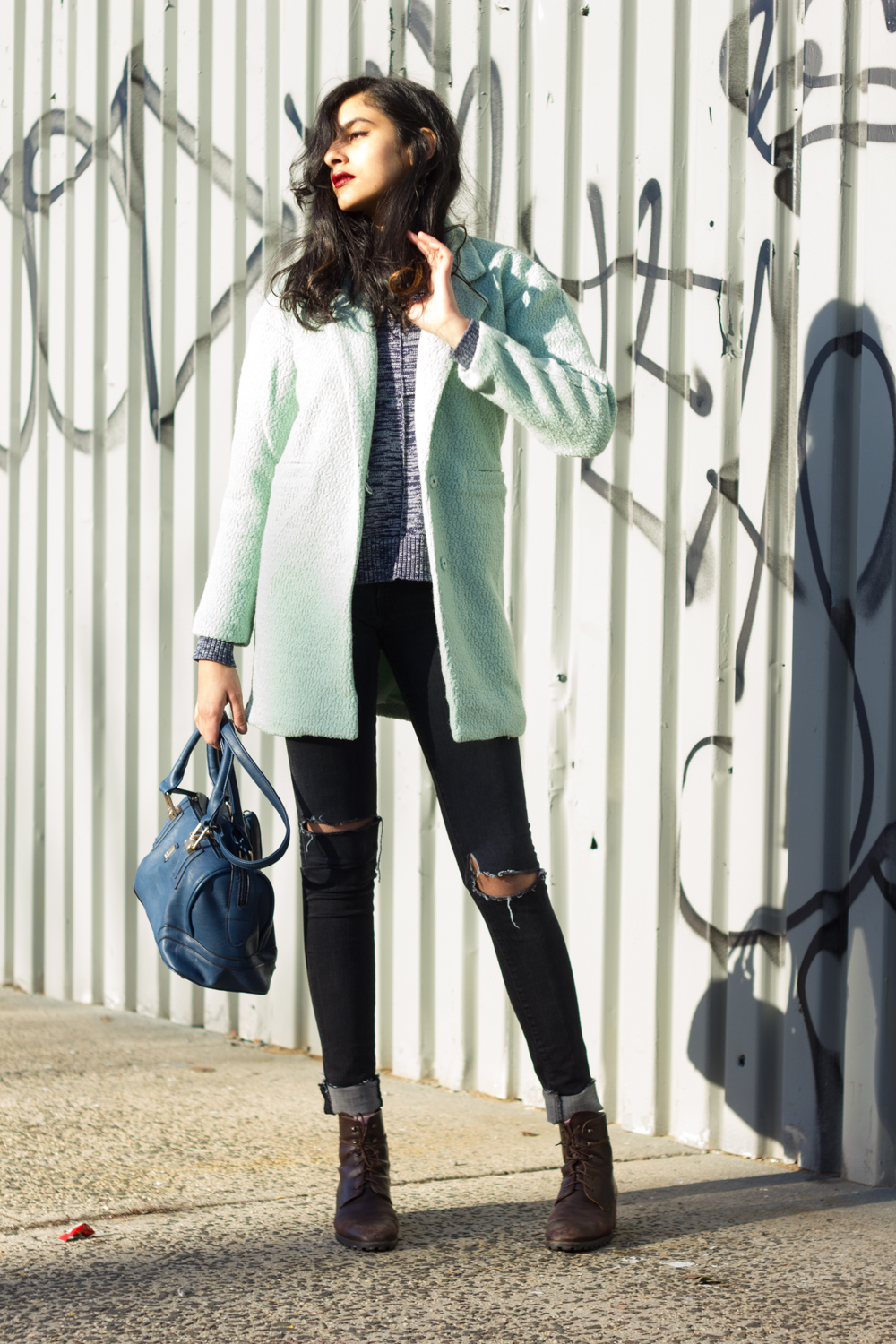 sheinside mint green label double panel longline coat