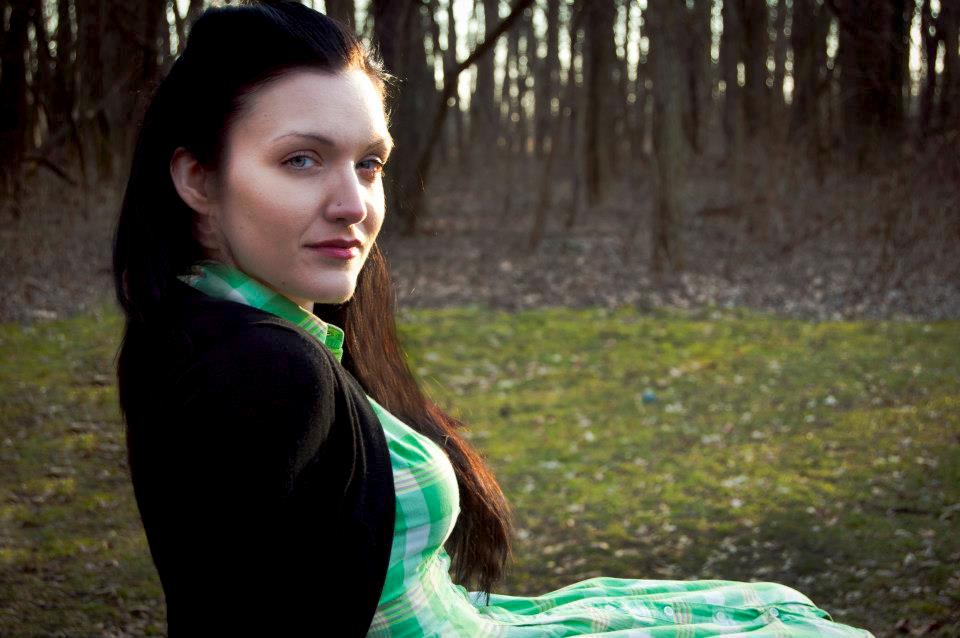 Green plaid button up dress, ca. 1970s. Modern cardigan.  Photography:  Mariangela Chatzistamatiou   2012