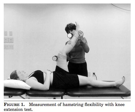 Passive knee extension test (Davis, Ashby, McCale, Mcquain, & Wine, 2005, p. 29).