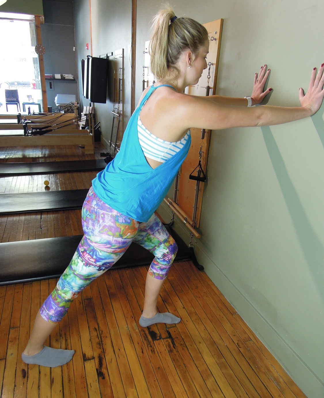 Calf stretch with a straight knee