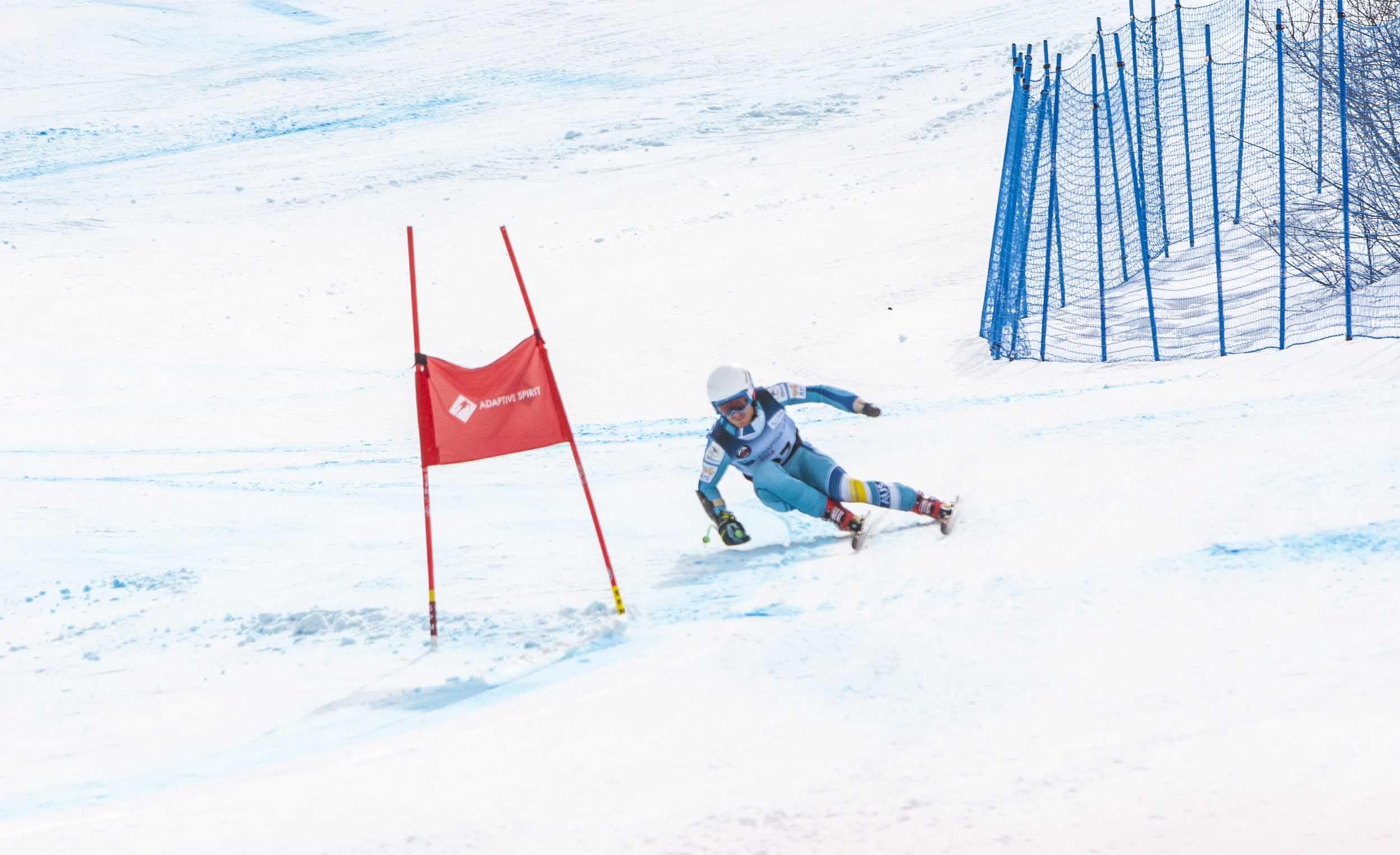 Photo of Mitch competing in the Super-G final at Aspen. Photo credit to  Bryan Myss