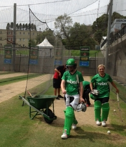 Batters warming up in the nets.
