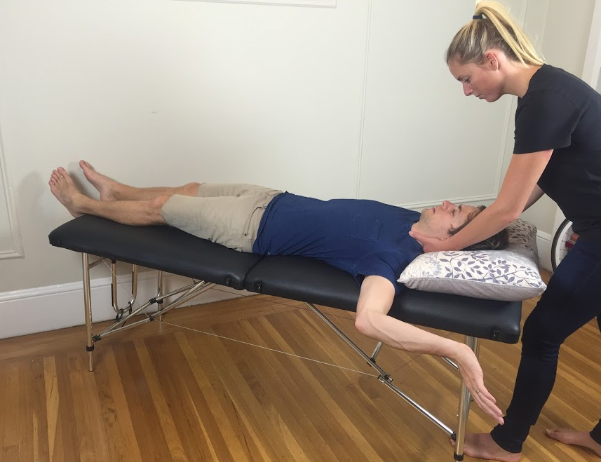 Cervical lateral glide with median nerve neurodynamic position