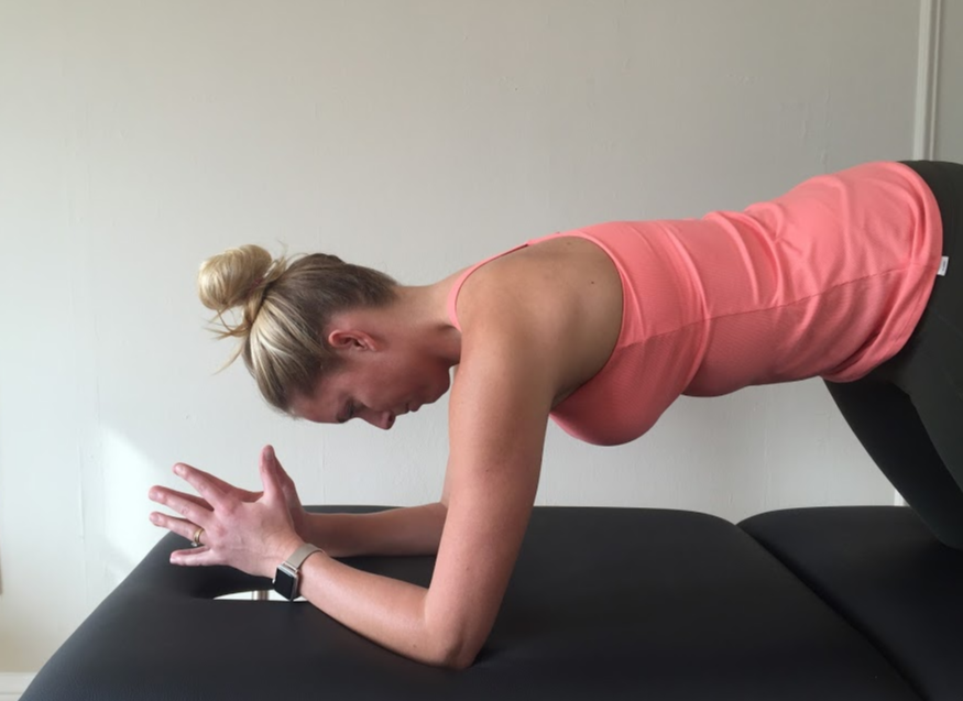Exercises can be done prone on elbows