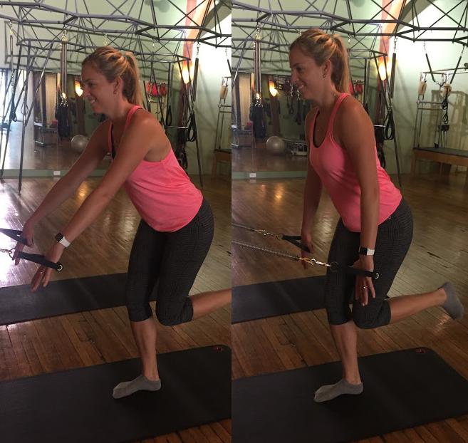 Single leg squat with low row