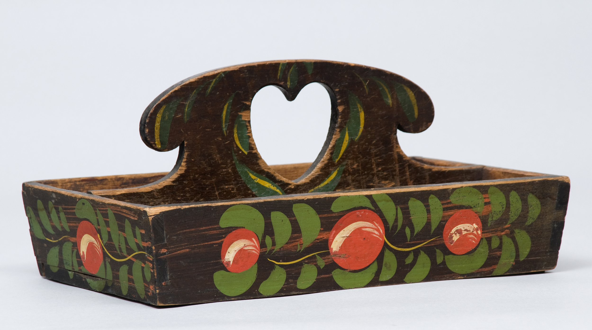 PAINT-DECORATED CUTLERY BOX WITH HEART CUTOUT HANDLE