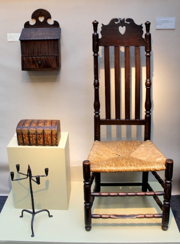 An exceptional heart and crown, bannister back side chair from Stratford, CT, circa 1725-45, was a highlight at Elliott and Grace Snyder, South Egremont, MA