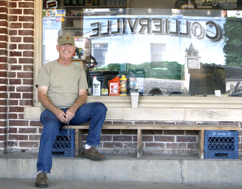 Danny Rae Williams, still pumps gas for patrons of McGinnis Service Station on the town square in Collierville, Tennessee. It can also be a gathering place for his friends to come and spin a yarn. With it's hometown charm and southern hospitality and flower-laden town square, Collierville has been awarded, Parade Magazine's designation as America's Best Main Street.