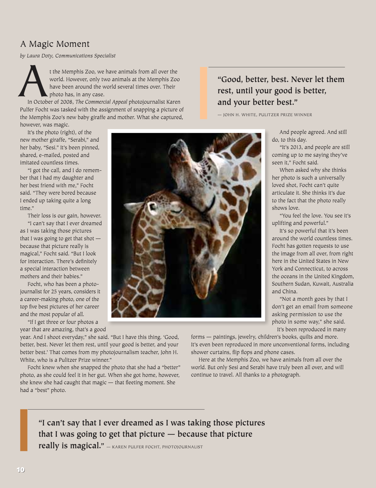 This article appeared in the Memphis Zoo magazine.