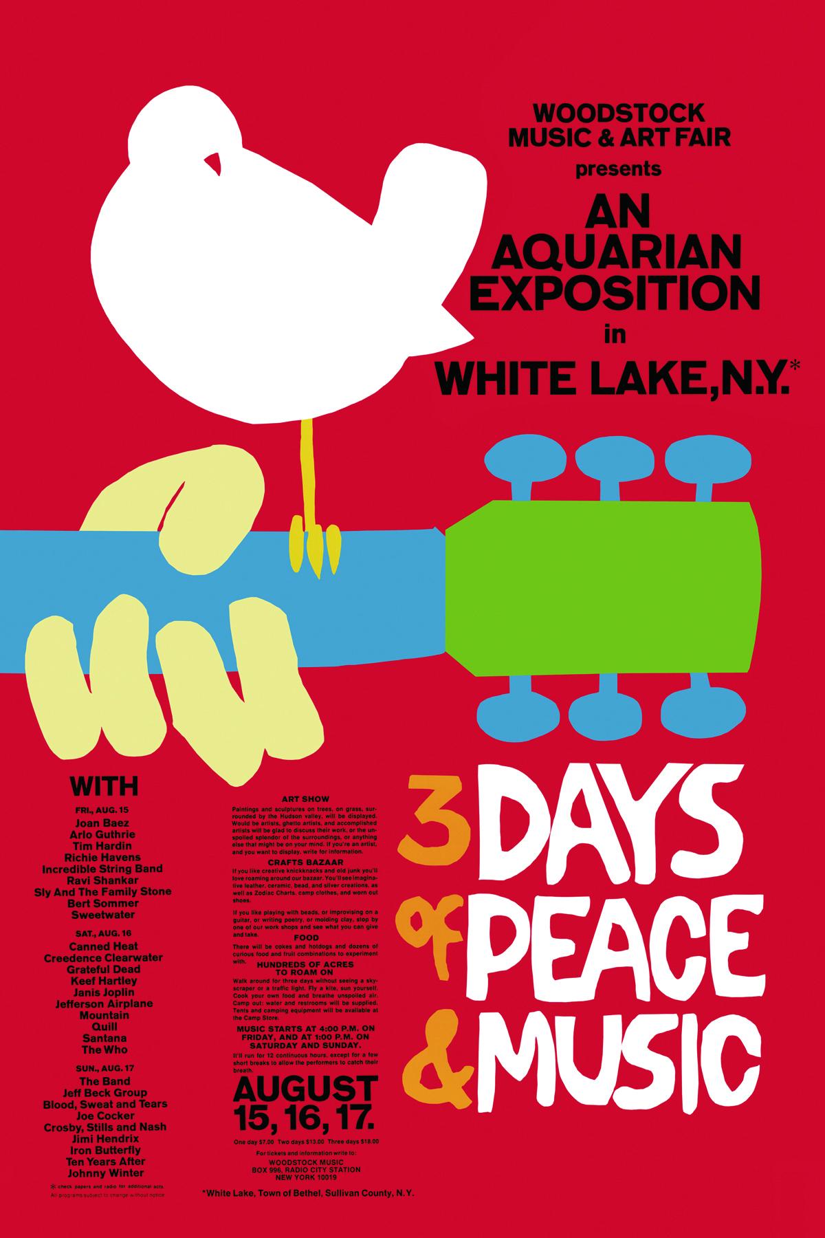 这就是在1969年8月举行的这个4天3夜的巨型摇滚音乐会,它的海报现在就张贴在旧天堂书店的咖啡区旁边。