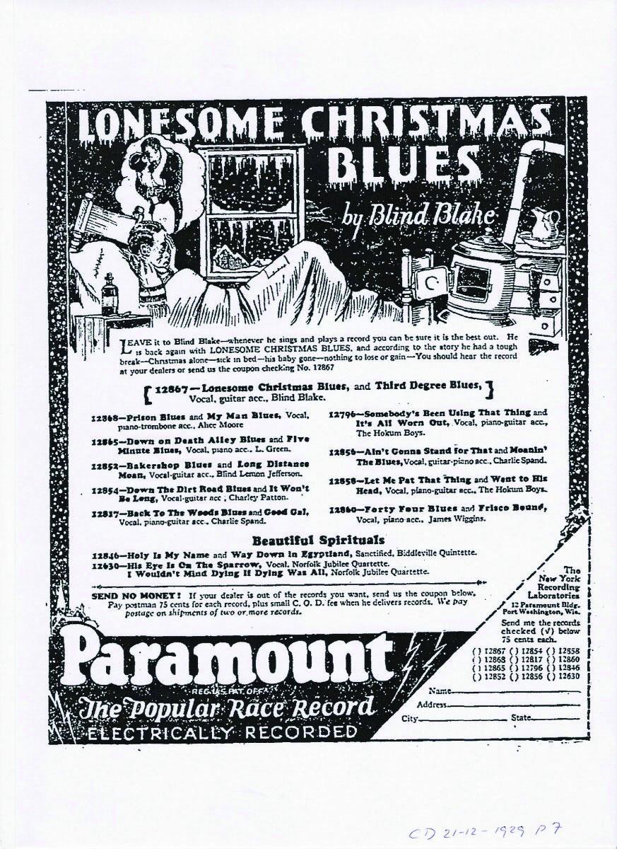 Paramount《Lonesome Christmas》广告单张,1929