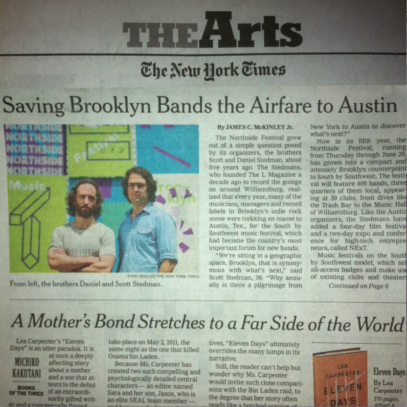 New York Times, Arts Cover, June 13th, 2013