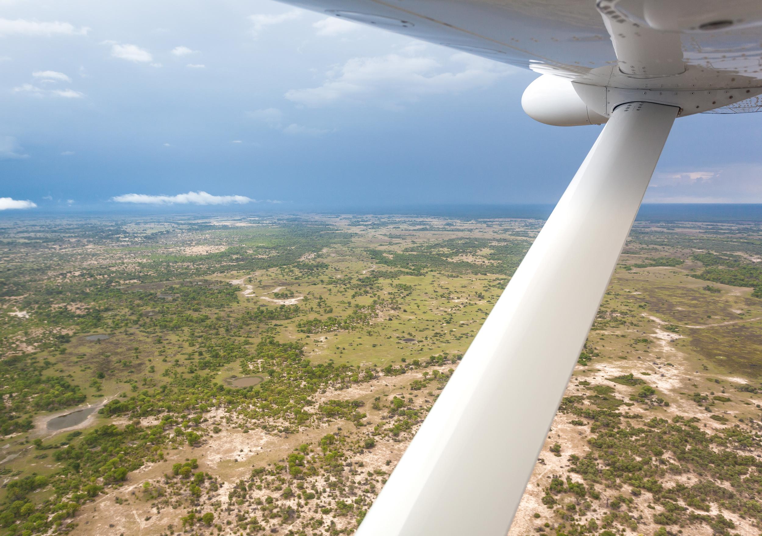 Flying over Botswana.