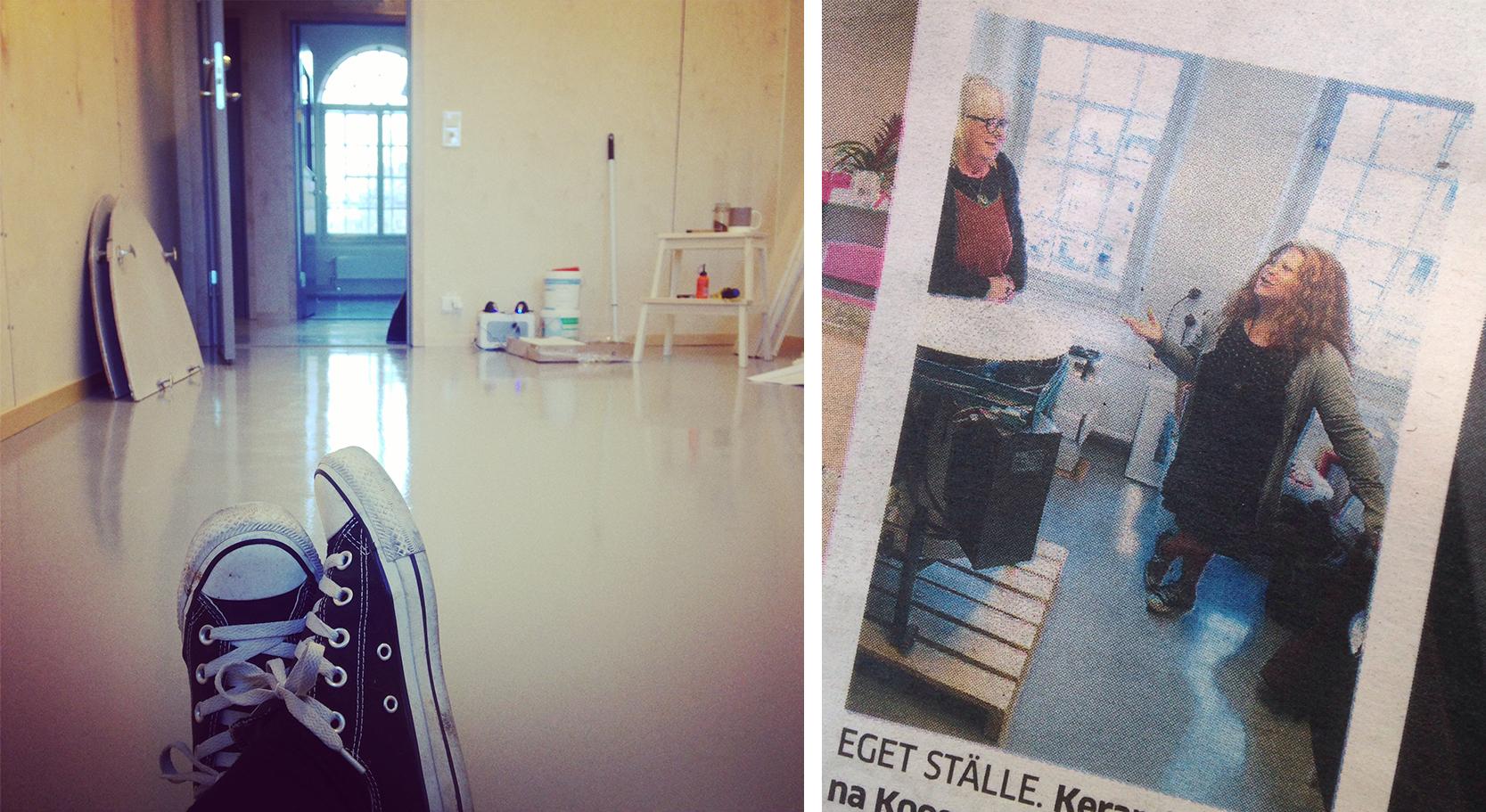Vänster:  En gång var golvet helt rent och skinande. Det var 5 år sen.  Höger:  Tidningsnotis från invigningen.
