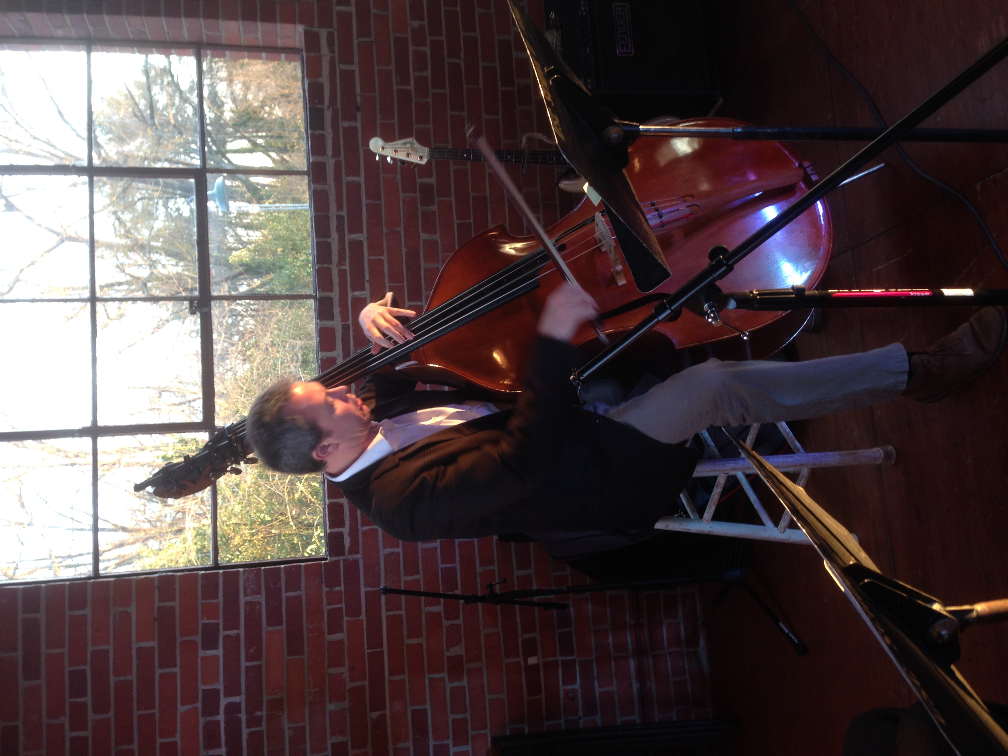 Craig Butterfield rehearsing with Jesse before the gala. It's hard to believe that a double bass can sing the way Craig plays it.