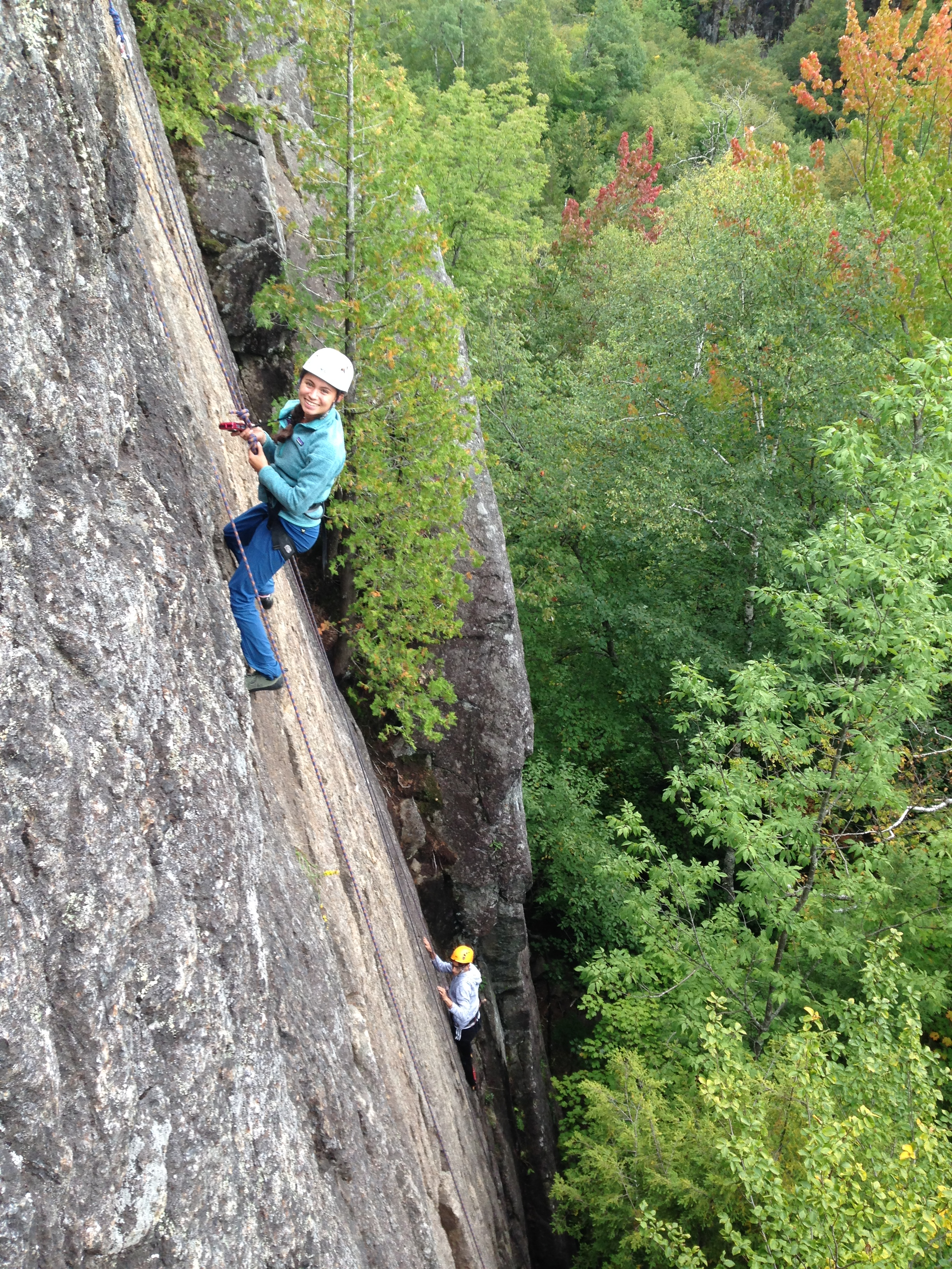 "Middlebury College Students having fun on""Afternoon Delight"" Lower Beer Walls in the Adirondack Park"