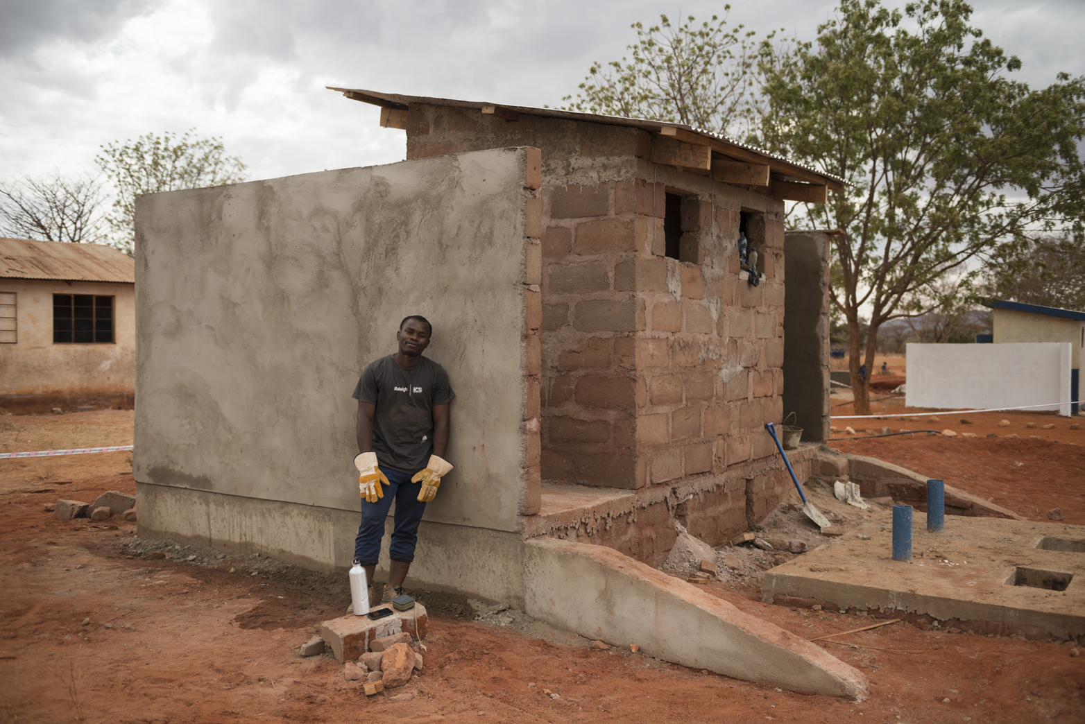 Kevin working on the toilet block